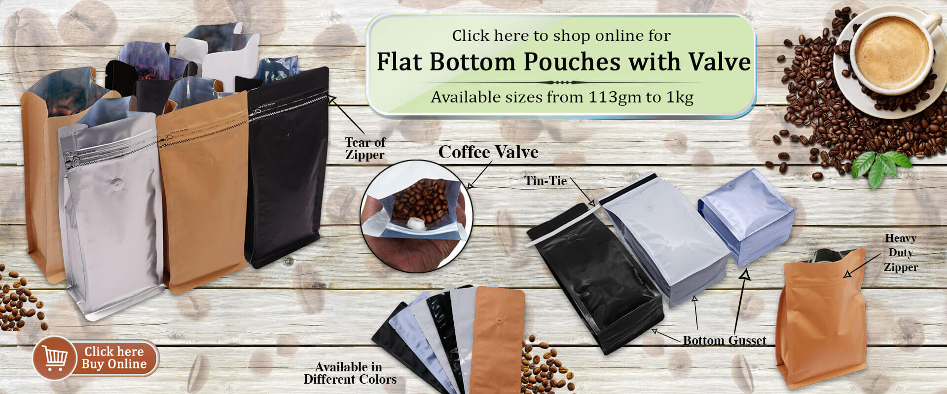 Flat Bottom Pouches With Valve PouchMakers